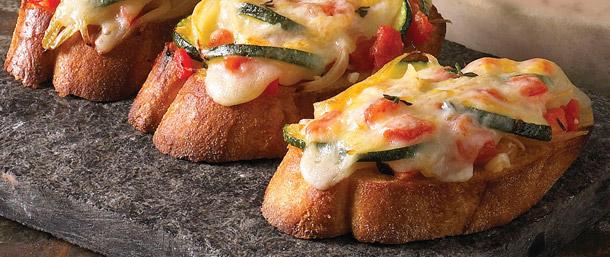 Provolone and Zucchini Crostini