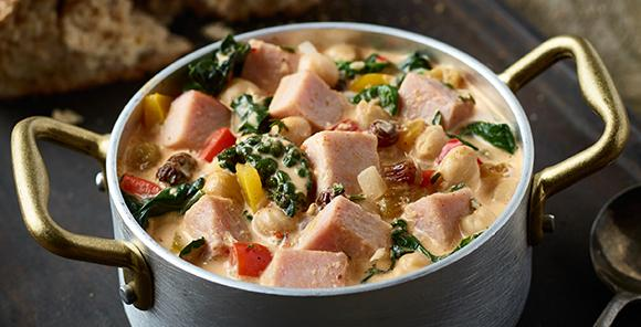 A great one-pot dish featuring our SmokeMaster Beechwood Smoked<sub>™</sub> Black Forest Ham that's perfect for all those leftover bits and pieces of vegetables you've got in the fridge. Just simmer away and let all of the flavors come together. You could serve it with rice, if you'd like. If you enjoy shellfish, cook a bag of clams or mussels in this for a more luxurious dish!