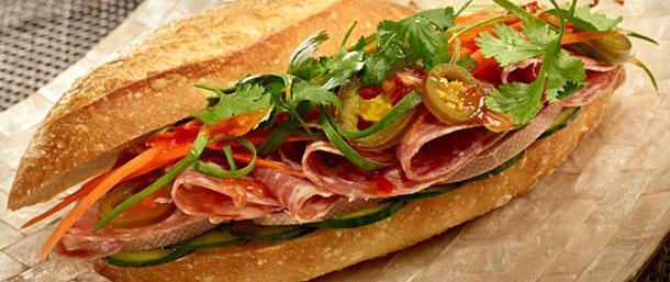 Vietnamese Sandwich with Liverwurst and Sopressata