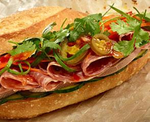 Vietnamese Sandwich with Liverwurst and Sopressata