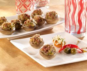 Sweet Sopressata Stuffed Mushrooms