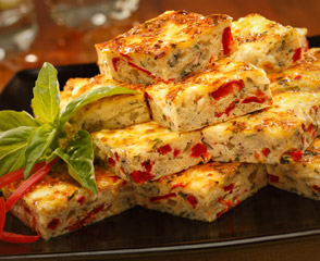 Feta Cheese and Roasted Red Pepper Squares