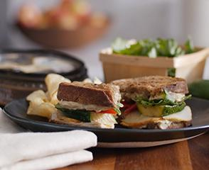 Roasted Garlic Hummus and Vegetable Sandwich