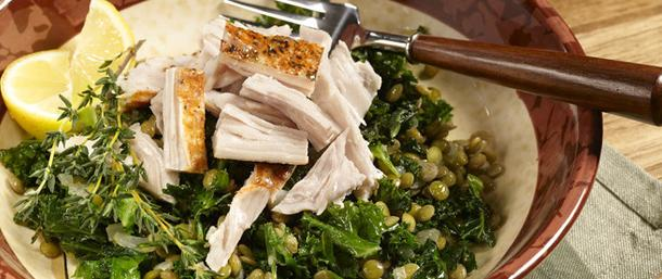 Julienned Turkey with Kale & Lentils