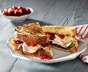 Grilled Turkey & Brie Sandwich with Cranberry Apricot Chutney