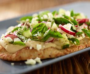 Greek Flatbread with Roasted Pine Nut Hummus