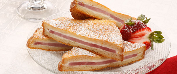 Sweet Slice® Ham Eggnog French Toast with Rum-Nut Syrup
