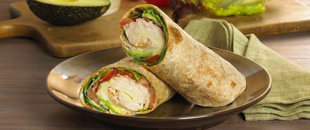 Turkey and Avocado Wrap with Roasted Red Pepper Hummus