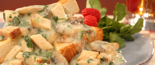 EverRoast® Chicken with Mushroom Sauce on Toast Points