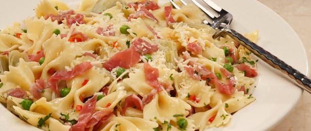 Prosciutto and Pea Bowtie Pasta