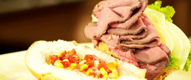 Roast Beef and Cheese Hoagie with Tomato Corn Relish