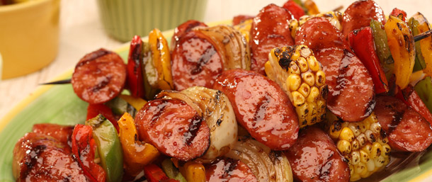 Hot Smoked Sausage Kabobs