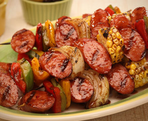 Skewers Of Sage Chicken With Sweet Italian Sausage Recipe — Dishmaps
