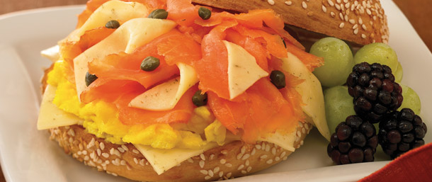 Scrambled Egg with Salmon Bagel