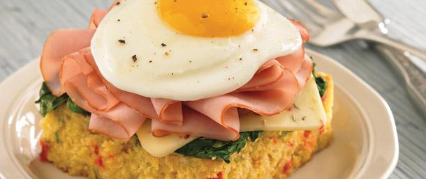 Tavern Ham on Cornbread Topped with Egg