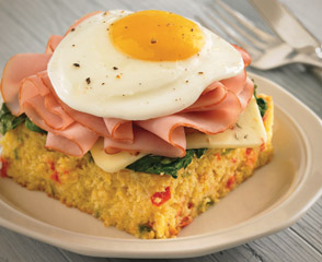 Tavern Ham on Cornbread Topped with Egg