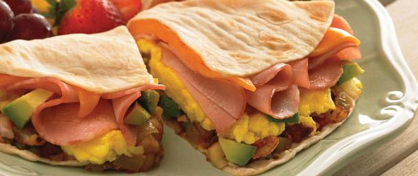 Scrambled Egg & Canadian Bacon Quesadilla