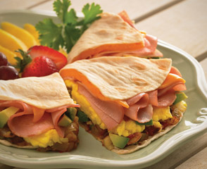 Scrambled Egg & Canadian Bacon Quesadilla