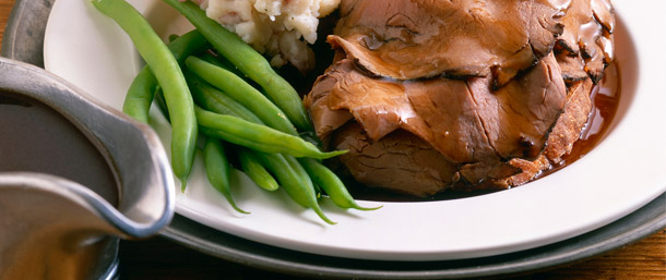 Quick Roast Beef, Mashed Potatoes and Gravy